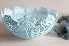 DIY Pretty Lace Bowl. DeLoop 365 Days Of Pinterest Day 18. I loved this pin. Super fun and easy, vintage style, pretty pretty!