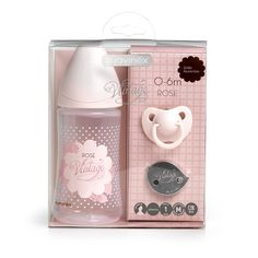 ACHICA | Suavinex Vintage First Days Set: 270ml Bottle, Evolution Soother & Jewel Clip - Pink