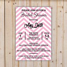 Bridal Shower Invite with pink chevron bg  by doodlingpeapod