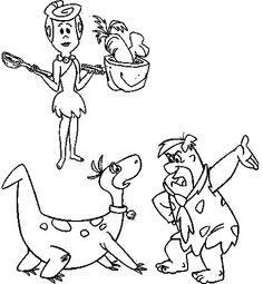 coloring page flintstones kids n fun