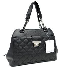 ea00bd838db50 Calvin Klein Soft Pebble Leather Handbag in Black