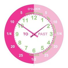 Simply Rooms Girls Teaching Time Clock Available at Simply Rooms - Great way to help your little girl tell the time. Easy to use and understand.