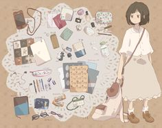 Usually we're seeing as all bloggers show us what they carry in their bags through a detailed post. I really liked it better this way showing, whit a nice and cute illustrations, there is something for everyone...although like most things, in the East they has some advantage than West, don't you think? ;)  I hope you enjoy it and that you have discovered a new form to show what you have in your bag!  ♡♡Pecca Bú♡♡