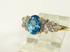 High End 14k Yel Gold 2ct Natural Oval Cut Blue Topaz