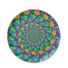 #Rainbow #Turquoise #Bokeh #Fractal #Dinner #Plates