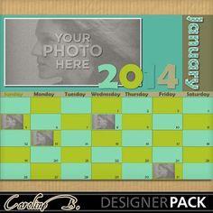 Digital Scrapbooking Kits   2014 January Green 8x11-(carolnb)   Birthdays, Calendars, Celebrations, Craftable - Printables, Everyday, Memories   MyMemories