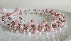Rosa avorio nuziale perle corona diadema copricapo di di CyShell