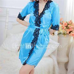 f0e70b026c1 Silk Women Sexy Lingerie Satin Lace Robe Nightdress Sleepwear Nightwear  G-string