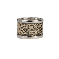 Sterling Silver Hand Crafted Meditation Ring with Stunning 9 KT Yellow Gold Lace Spinning Band, and oxidized base. Meditation Rings, Gold Lace, Vintage Fashion, Vintage Style, Wedding Bands, Cuff Bracelets, Rings For Men, Gems, Bling