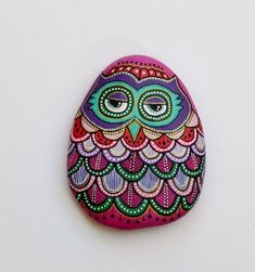 соваHand Painted Stone Owl by ISassiDellAdriatico on Etsy, €27.50