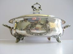 Silverplate Footed Covered Serving Dish Queen City Silver Co. Ohio Quad plated  #QueenCitySilverCompany pattycyn on ebay make offer