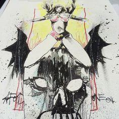 Vampirella on that demon skull bat thing.  #saturday #horror #vampirella…