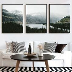 """Nature Landscape Canvas Painting Nordic Style Poster Wall Art Pictures for Living Room Decor Forest Lake Posters and Prints"""