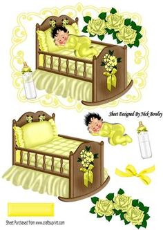 Baby Boy Girl Sleeping in a crib with roses and bow on Craftsuprint - Add To Basket!