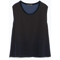 Zara Sleeveless Top ($26) ❤ liked on Polyvore featuring tops, black, black singlet, black tank, zara tank top, sleeveless tops and black tank top