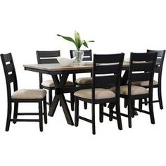 Braydon's sawbuck style table, slat back chairs and two-toned finish make it ideal for casual dining needs blending well with most furnishings. Kitchen Dining Sets, Counter Height Dining Sets, 7 Piece Dining Set, Dining Room Sets, Dining Furniture, Bedroom Furniture, Furniture Design, Dining Chairs, Dining Table