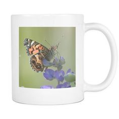 Brown Butterfly Mug, 11 oz Ceramic Coffee Cup with Nature Photography