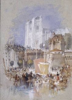 Joseph Mallord William Turner 'Nantes', c.1826–30 - Watercolour, bodycolour and pen and ink on paper -  Dimensions Support: 186 x 134 mm -  © The Ashmolean Museum, Oxford
