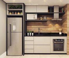Cozinha pequena, prática e funcional! Tem também ✔️ Projeto e 3 Kitchen Room Design, Kitchen Cabinet Design, Modern Kitchen Design, Home Decor Kitchen, Interior Design Kitchen, Kitchen Furniture, Küchen Design, House Design, Layout Design