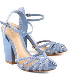 Sandália salto bloco trançada light blue                                                                                                                                                                                 Mais