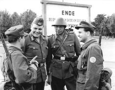 14 August 1961, Erection of the Berlin Wall. GDR borderguards and members of a Combat Group of the Working Class at the border of the Berlin sector