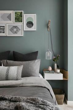 Gray and Sage Green Bedroom. Gray and Sage Green Bedroom. Gray and Sage Green Bedroom Gray and Sage Green Bedroom Green Bedroom Design, Sage Green Bedroom, Gray Bedroom, Bedroom Loft, Trendy Bedroom, Modern Bedroom, Bedroom Designs, Green Bedrooms, Bedroom Suites