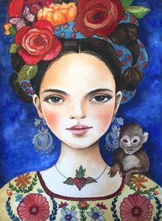 original Frida en azul por claudiatremblay en Etsy