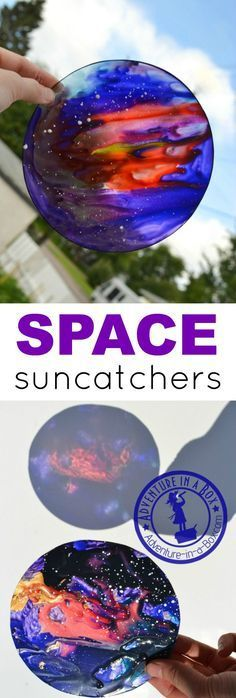 Make space sun-catchers from plastic plates or other clear plastic recyclables. Out-of-this-world craft for kids who are interested in space and the cosmos. Outer Space Activities for Kids Pebeo Vitrail, Stained Glass Suncatchers, To Infinity And Beyond, Mason Jar Crafts, Mason Jars, Summer Crafts, Space Crafts Kids, Space Projects, Craft Space