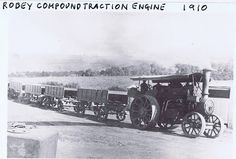 Robey Compound Traction Engine with stone trucks 1910   Flickr - Photo Sharing!