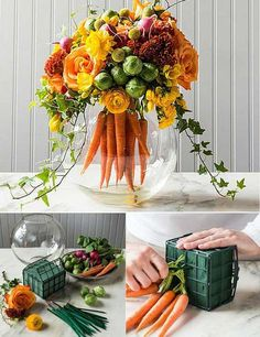 #1. Make a cool Easter centerpiece like this mix of traditional floral arrangements and a bouquet of carrots: Top 27 Cute and Money Saving DIY Crafts to Welcome The Easter Easter Holidays, Easter Treats, Vases Decor, Centerpieces, Craft Tutorials, Colorful Flowers, Diy Tutorial, Carrots, Floral Wedding