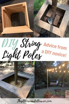 This tutorial for these DIY String Light Poles and Planters will show you how to build beautiful light poles for your backyard using just a few materials. Beautify the outdoors! Read what I learned building these DIY String Light Poles as a beginner. Backyard Patio Designs, Backyard Landscaping, Patio Ideas, Backyard Decorations, Garden Ideas, Back Yard Ideas Diy, Diy Patio Enclosure Ideas, Backyard Planters, Landscaping Blocks