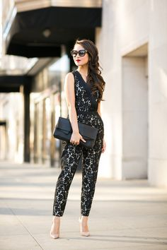 Caped Crusader :: Lace jumpsuit & Black cape blazer : Wendy's Lookbook