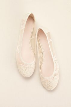A bridal ballet flat with sheer lace and mesh by Melissa Sweet available at David's Bridal