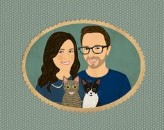 Portraiture. Personalized Couple portraits with 2 by lilidiprima