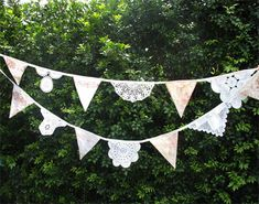 Vintage Shabby Chic Doily & Fabric Flag Bunting. Wedding, Garden Party
