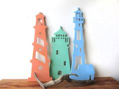 Trío de Faro madera arte de la pared decoración de por seasawsign