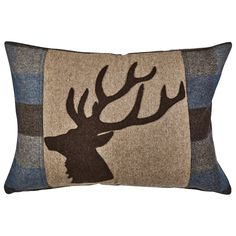 This luxurious wool mix, countryside-inspired blue check cushion with a majestic stag head embellishment is a great way to add cosy and stylish features to your home.