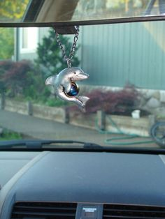 Dolphin Marble Polymer Clay Necklace Pendant Rear View by wcgoods, $20.00