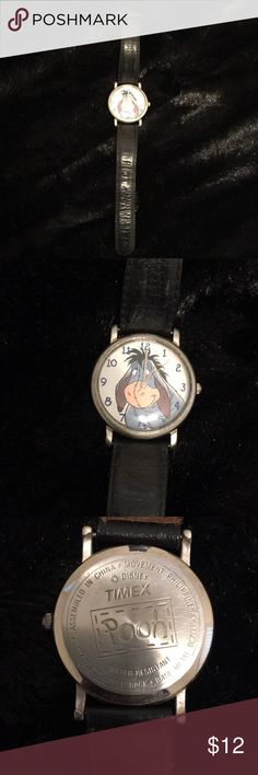 Vintage Eeyor Timex Watch Vintage Timex watch, Disney Pooh Collection. Black leather band. Needs battery Timex Accessories Watches