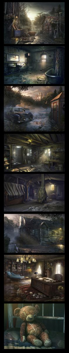 Abandoned: Chestnut Lodge Asylum by Yura Gvozdenko, via Behance Apocalypse World, Apocalypse Art, Environment Concept Art, Environment Design, Game Environment, Cyberpunk, Matte Painting, Fantasy World, Fantasy Art