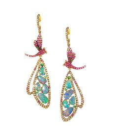 "Wendy Yue Dragonfly earrings with opals HM22261 $11,750.00 Vibrant opals glow in the wings of these charming earrings by Wendy Yue. Brown diamonds, rubies, green garnets and a rainbow of sapphires make a spring garden appear. These 18k gold charmers are about are about 2 3/4"" long."