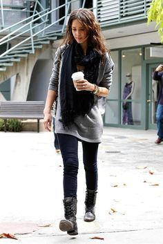 need an oversize grey sweater with combat boots