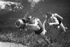 Underwater cameramen filming during Red Cross water safety demonstration at Silver Springs. Water Safety, Red Cross, Underwater, 1950s, Florida, Memories, Film, Silver, Memoirs