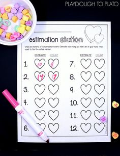 Awesome conversation heart activity for Valentine's Day! Estimate and then count a handful of hearts. Great math game for preschool or kindergarten.