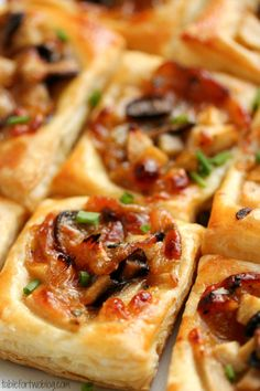 These are good but pretty big as the recipe is but cut the squares smaller for party appetizers: Caramelized Onion, Mushroom, Apple & Gruyere Bites - Table for Two Finger Food Appetizers, Appetizers For Party, Appetizer Recipes, Appetizer List, Puff Pastry Appetizers, Easter Recipes, Dinner Recipes, Fingers Food, Yummy Food