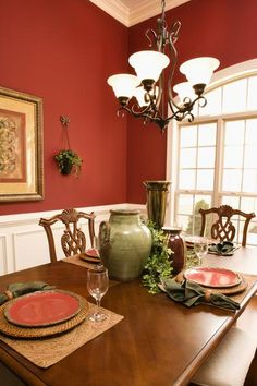 Pretty Dining Room Paint Colors Using Color Gradation: Great Red White Dining Room Paint Colors Wooden Style Table Ideas ~ SQUAR ESTATE Dining Room Inspiration