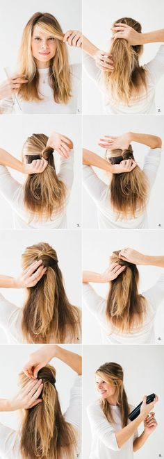 Going to a party and short on time? This easy half-up twist can be done in just two minutes.