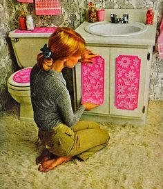 1970s DIY bathroom design. I am eventually going to redo my main bathroom in bold pink. I just love the shock of seeing that bright pink when the lights get turned on!