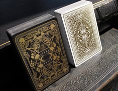 Nicolai Aarøe is raising funds for Dominus Playing Cards on Kickstarter! decks with metallic ink and gold foiled, embossed tucks. II in the 'Light vs. Darkness' series by Nicolai Aarøe. Unique Playing Cards, Cartomancy, School Hacks, Tarot, Ink, Metallic, Projects, Prints, Darkness