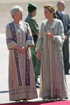 Princess Mona (L), mother of Jordan's King Abdullah, with Princess Alia al-Faisal, the wife of her other son, Prince Faisal Bin Al-Hussein, May 25, 2005